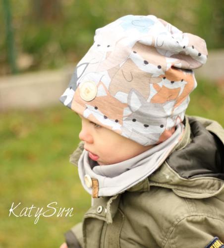 Katy Katzenfeld - KatySun- Beanie und Halzsocke- außen sommersweat innen Jersey
