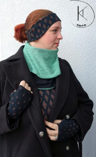 Alex - Knips & Ab - Halssocke Stirnband Armstulpen - doppelt Jersey