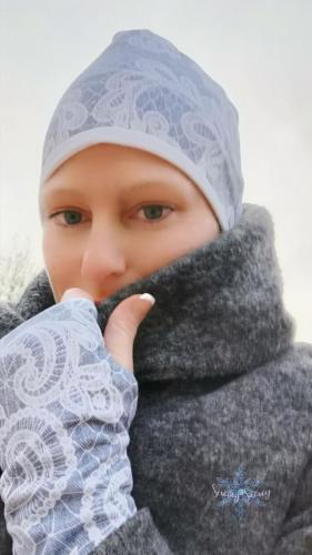 Stephie Schneeweis SewingSnowy Beanie und kurze Armstulpen aus SommerSweat und Jersey