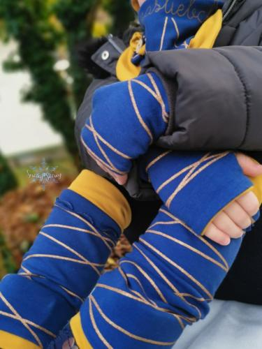 Stephie Schneeweis SewingSnowy Armstulpen und Halslatz aus 2 Lagen Sommersweat Beinstulpen einlagi