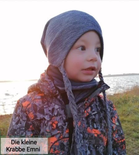 Beanie mit ohrenklappe außen strick und innen jersey Dani von Die kleine Krabbe Emni