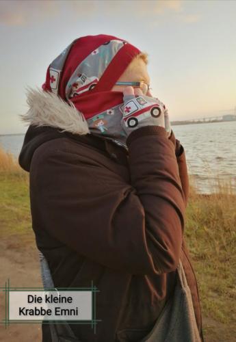 Twil beanie in jersey mit twil halssocke mit passenden armStulpen Dani von Die kleine Krabbe Emni